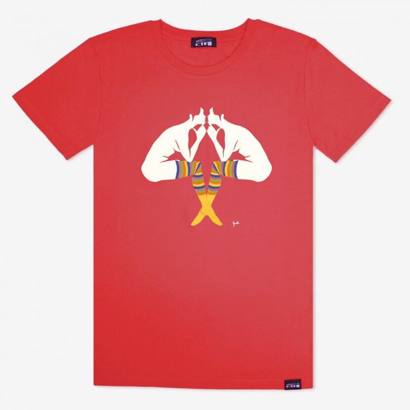 T-shirt homme couleur hot coral inspiré de Evelyne Axell «L'Entretien» artiste pop art belge