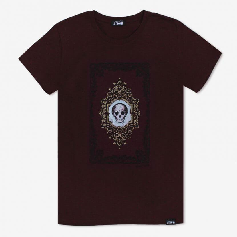 T-shirt, Michèle Grosjean, «Vanité», 2016, acrylique sur reliure ancienne