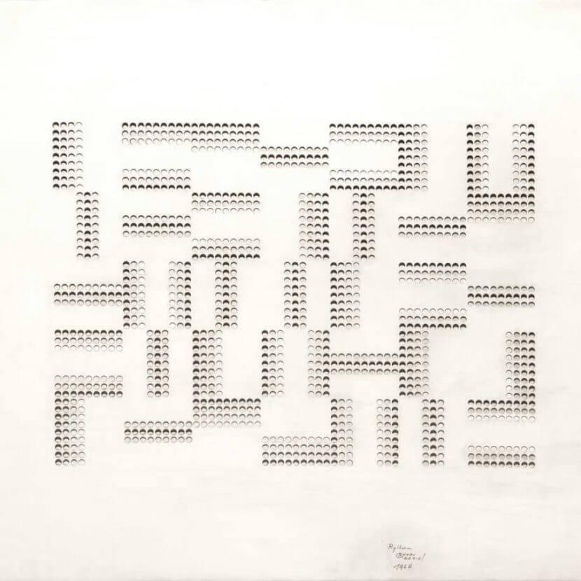 Henri Gabriel, Rythmes, 1964, tissu plastique sur contreplaqué