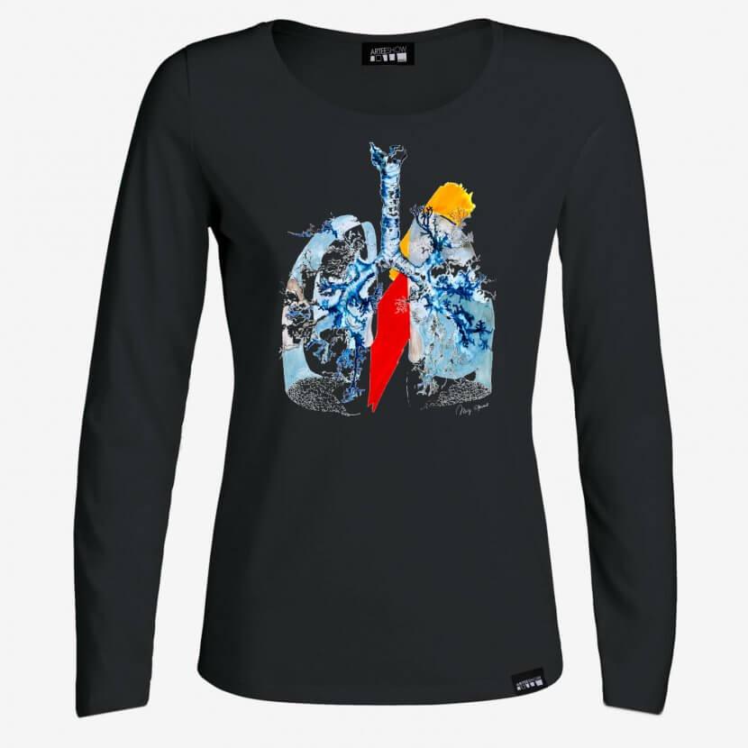 T-shirt femme à manches longues noir Mig Quinet artiste belge