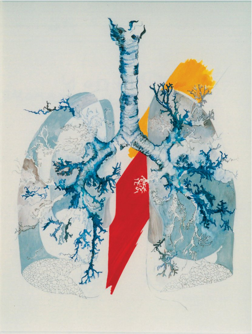 Mig Quinet Le Poumon de cérémonie 1980 Gouache sur papier