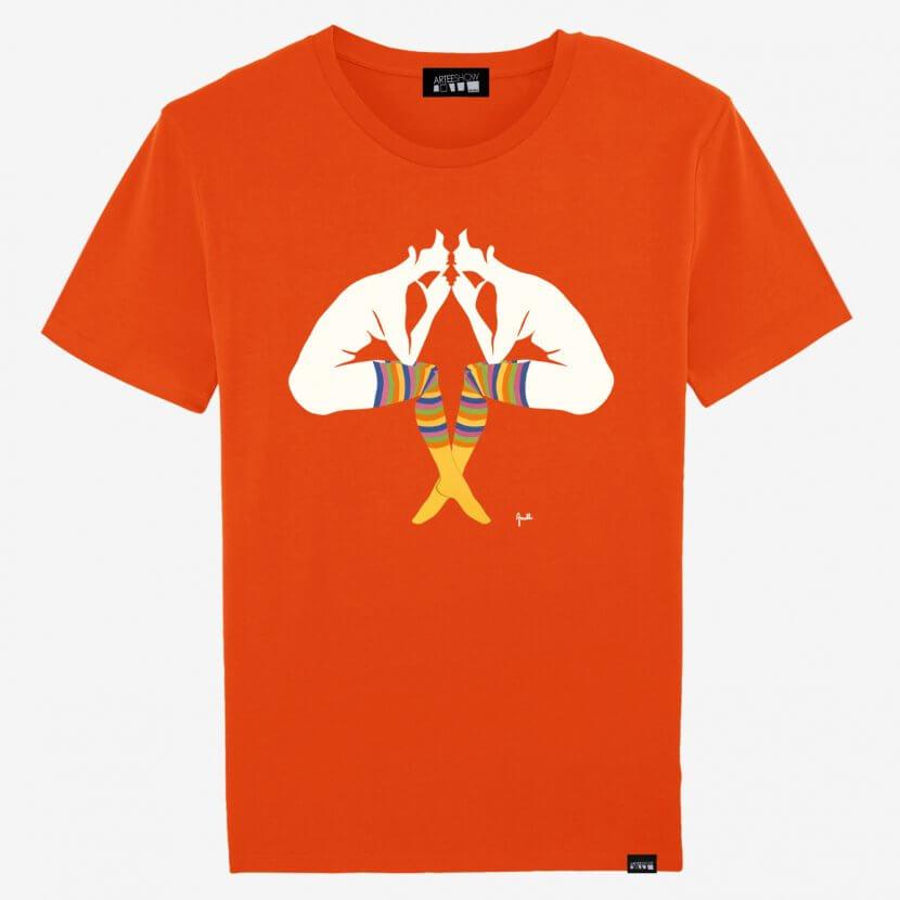 """T-shirt homme orange en coton biologique imprimé en Belgique de Evelyne Axell artiste belge pop art «l'Entretien"""""""