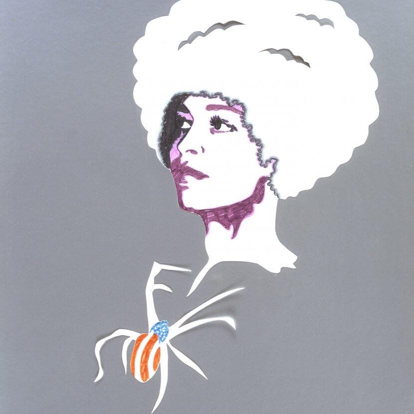 Evelyne Axell, «Angela Davis», 1972, Feutre et crayon sur papier découpé et collé sur papier métallisé, 80 x 64 cm