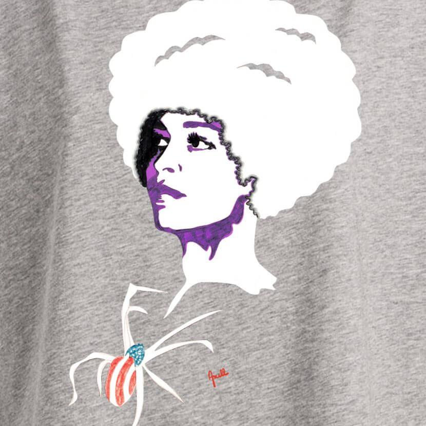 T-shirt femme Heather Grey original série limitée Evelyne Axell artiste pop art belge