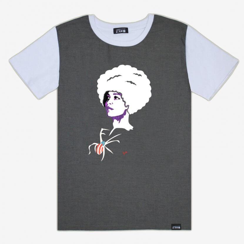 T-shirt homme blanc et denim panel inspiré de l'œuvre de Evelyne Axell «Angela Davis» artiste peintre belge pop art