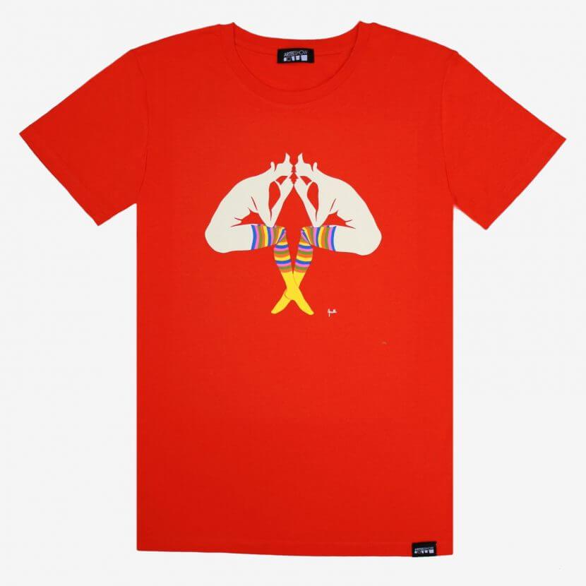 T-shirt orange impression sérigraphie de Evelyne Axell artiste belge du pop art inspiré deL'entretien exposé au Musée des Beaux-Arts de Bruxelles
