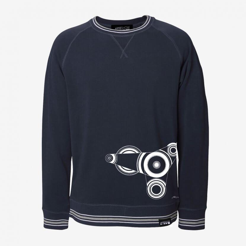 Sweatshirt unisexe bleu marine manches raglan bord rayé coton Jean-Louis Flouquet artiste belge