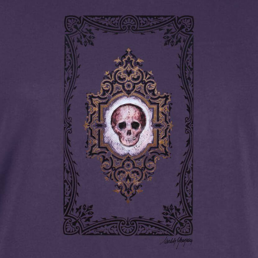 Détail du t-shirt original couleur plum homme inspiré de l'artiste belge Michèle Grosjean