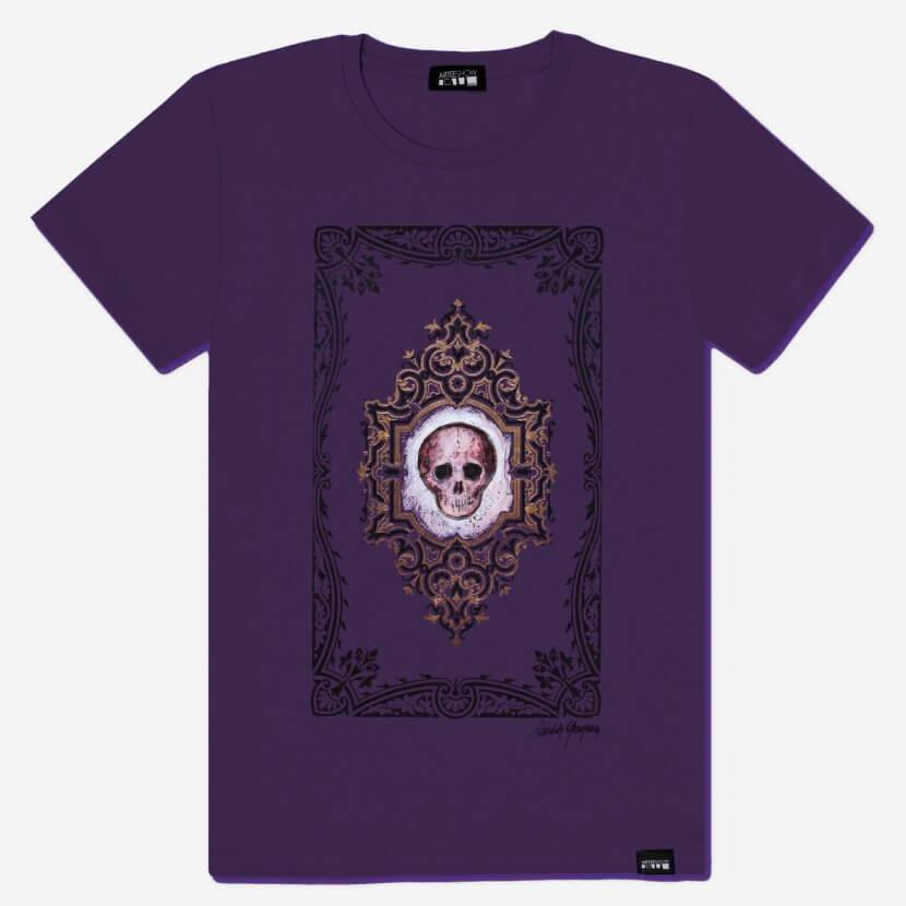 T-shirt coton violet homme de Michèle Grosjean intitulé Vanité