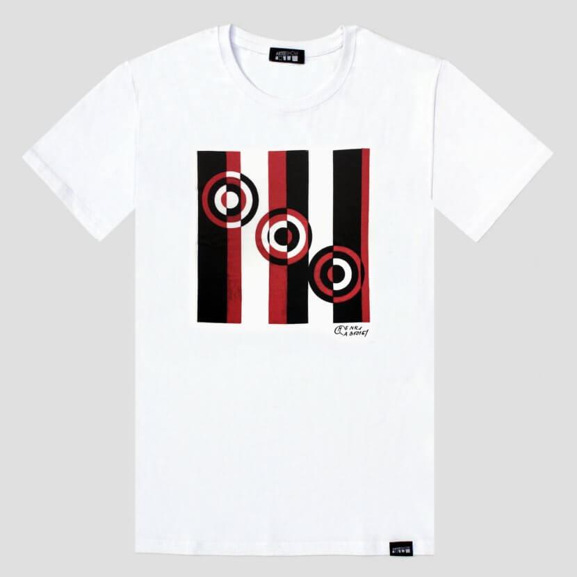 T-shirt homme blanc original série limitée Henri Gabriel artiste belge art cinétique