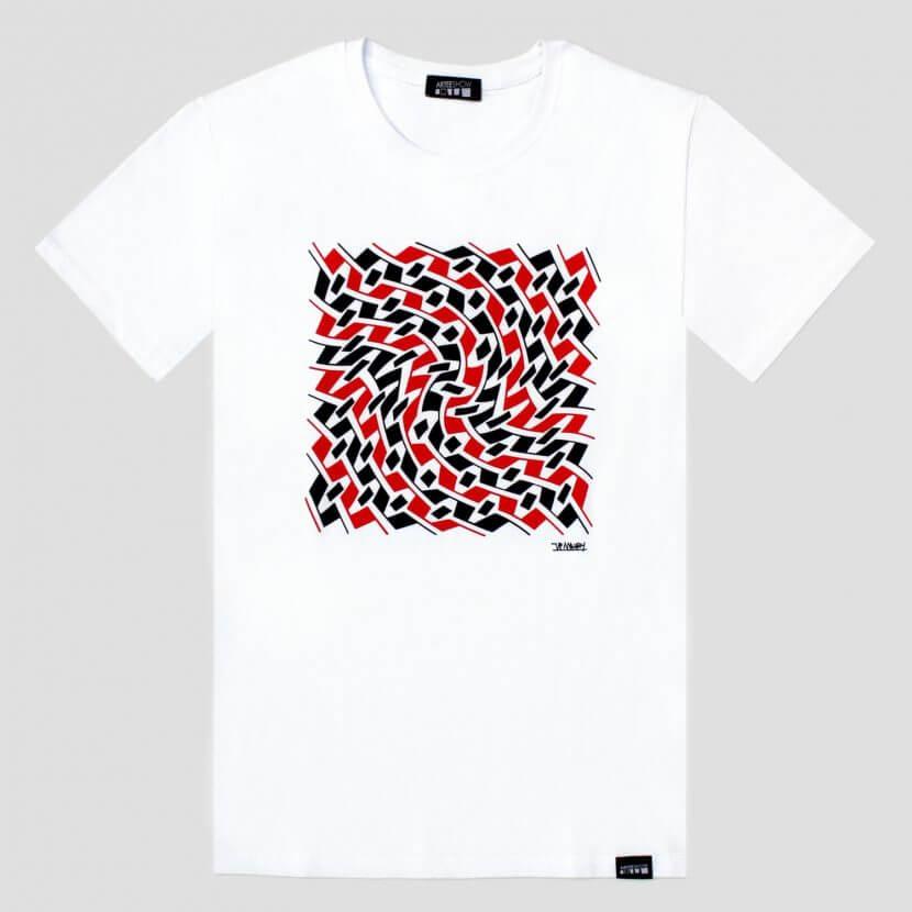 t-shirt blanc imprimé en Belgique Jean-Pierre Maury artiste belge