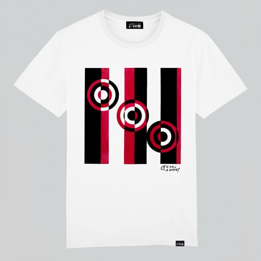 T-shirt homme blanc imprimé en coton bio de Henri Gabriel artiste belge