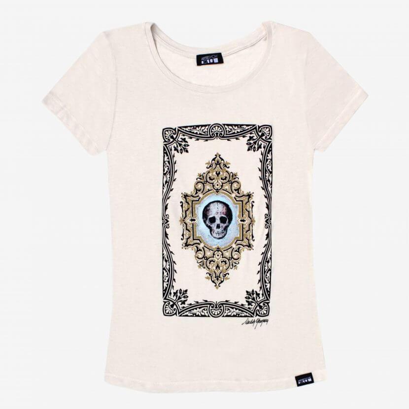 T-shirt white imprimé en Belgique Bruxelles artiste belge Michèle Grosjean, «Vanité»