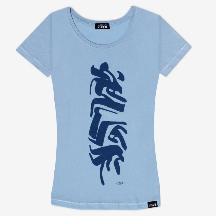 T-shirt sky blue femme original Jules Lismonde artiste belge