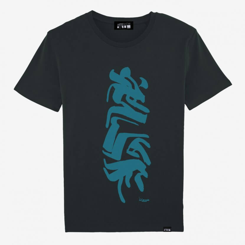 T-shirt men Black printed bleue organic cotton de Lismonde