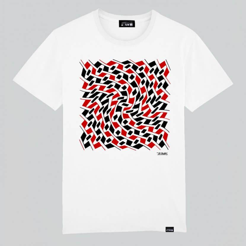 T-shirt Homme blanc coton biologique art belge Maury