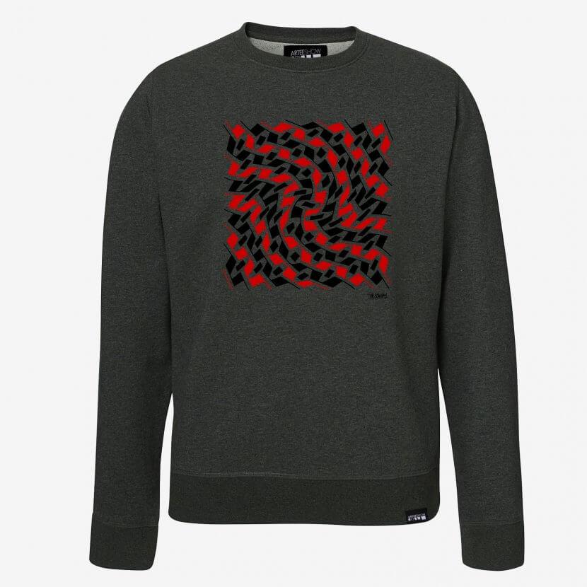 Sweatshirt unisexe gris foncé chiné artiste belge Jean-Pierre Maury