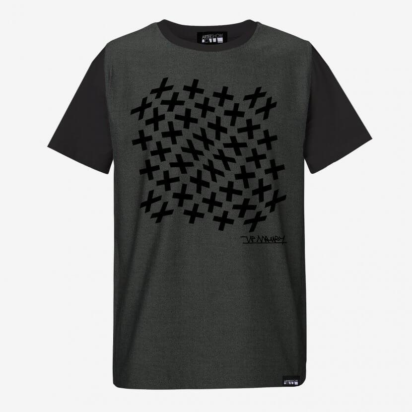 T-shirt homme coton black et denim panel original série limitée de Jean-Pierre Maury artiste peintre belge