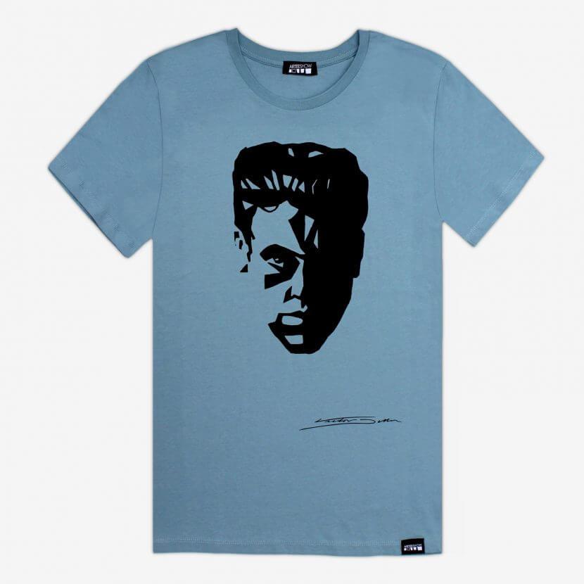 T-shirt bleu imprimé en Belgique Bruxelles de Victor Delhez, Autoportrait,