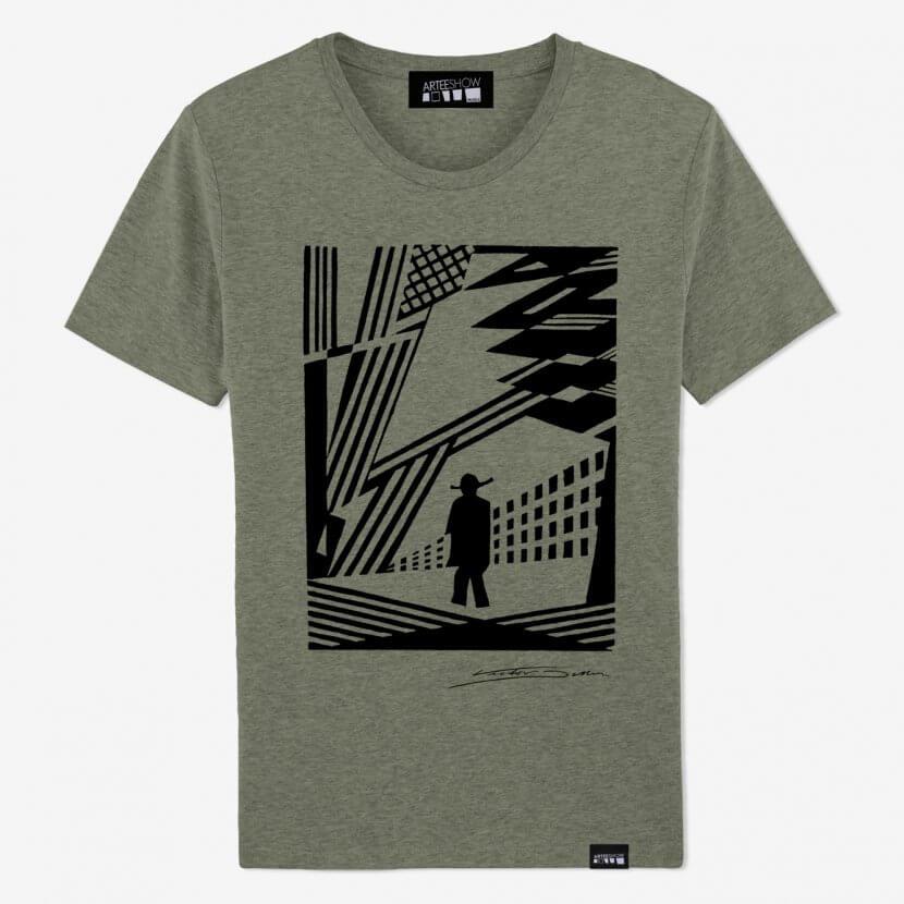 t-shirt homme kaki en coton biologique de Victor Delhez artiste anversois belge