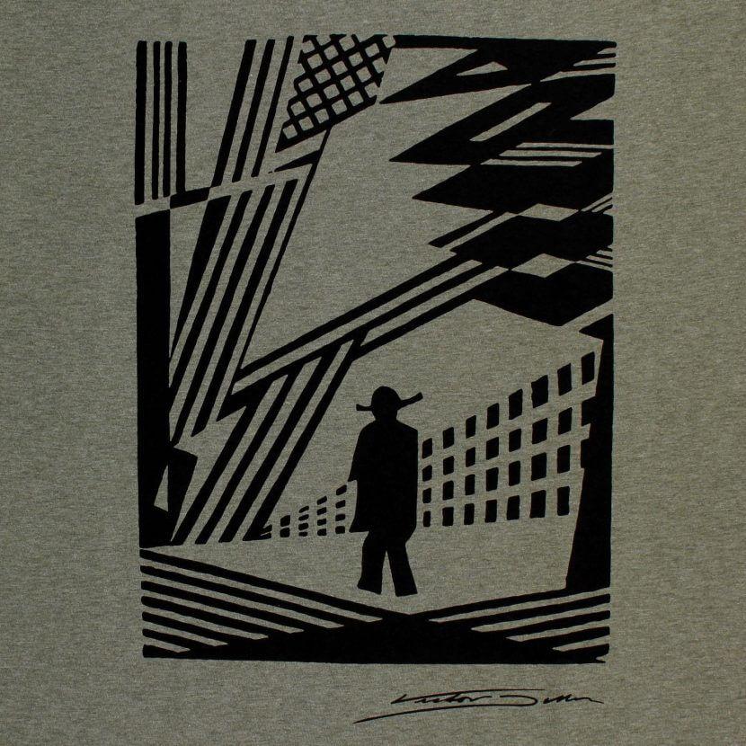 T-shirt kaki imprimé en Belgique sérigraphie de Victor Delhez artiste belge
