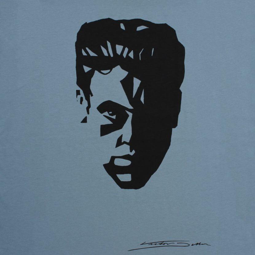 T-shirt bleu homme imprimé Bruxelles de Victor Delhez