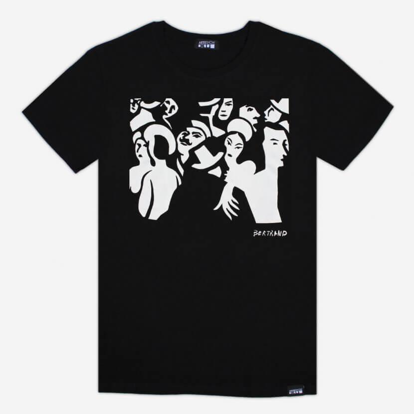 T-shirt noir homme imprimé en Belgique inspiré de l'artiste belge Gaston Bertrand