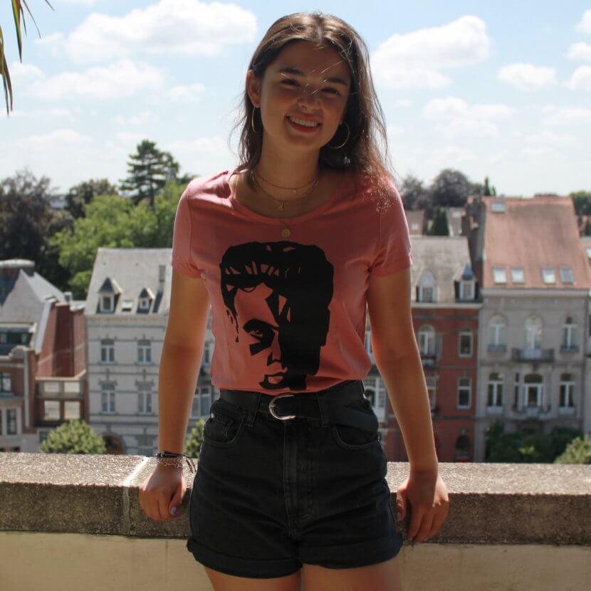 T-shirt femme rose coton bio imprimé artiste belge Victor Delhez
