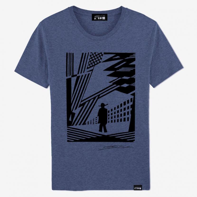 T-shirt Homme bleu chiné inspiré par Victor Delhez artiste anversois