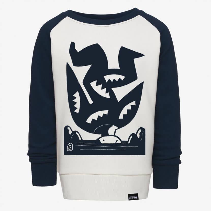 Sweat-shirt enfant unisexe white navy de Josse Goffin Pauvre Icare artiste belge et graphiste