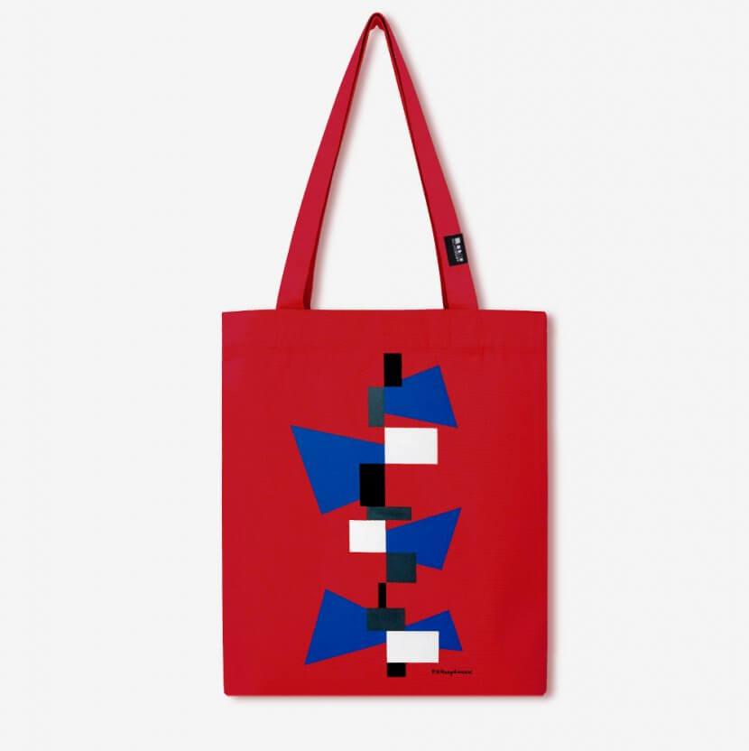 Tote bag rouge toile épaisse coton recyclé de Paul Van Hoeydonck