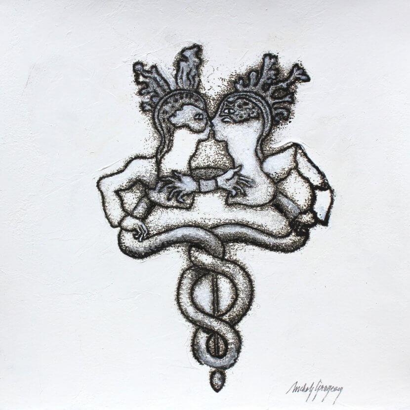Michèle Grosjean, Rebis, 2015, dessin/transfert, encre typographique, 23 x 23 cm