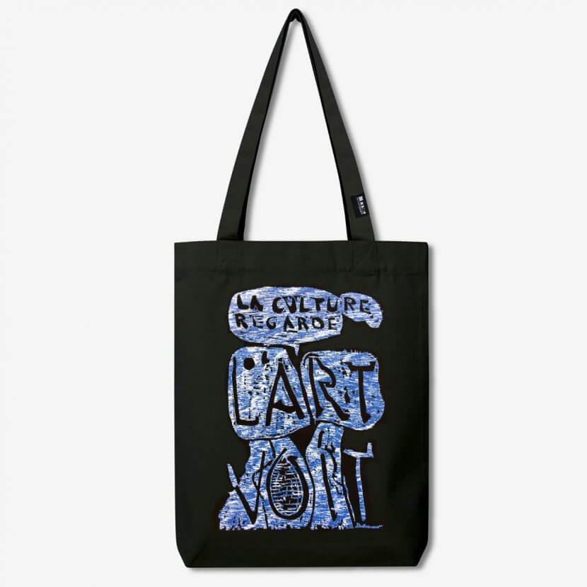 """Tote bag noir en toile coton recyclé de Christian Dotremont «La culture regarde, l'art voit"""""""