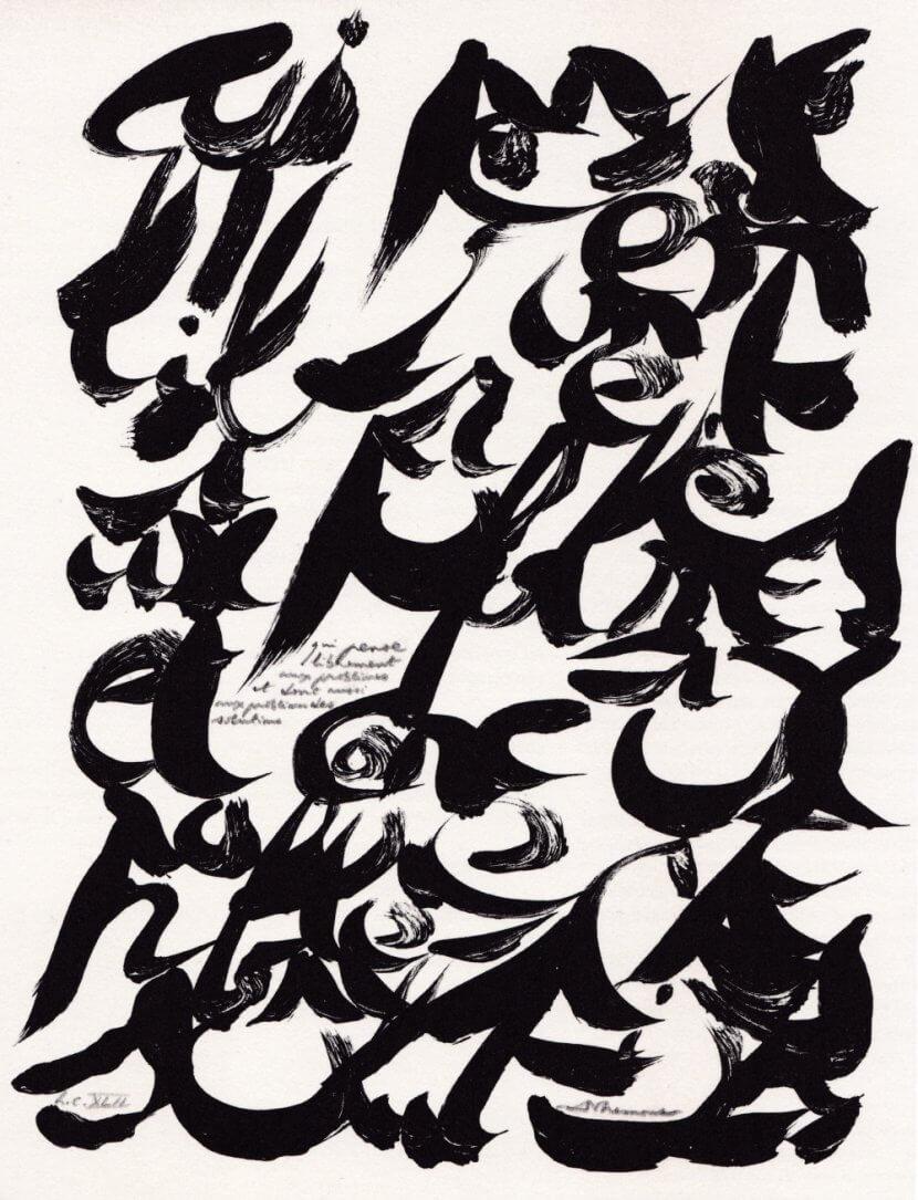"""Christian Dotremont, """"Qui pense librement aux problèmes et donc aussi aux problèmes des solutions"""", 1978 Lithographie, 40 x 30 cm"""