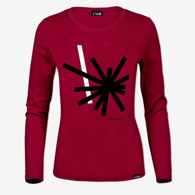 T-shirt femme à manches longues deep red inspiré de Paul Van Hoeydonck artiste anversois