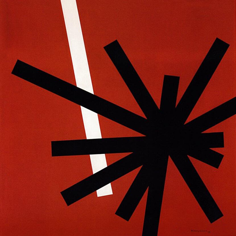 Paul Van Hoeydonck, «Composition», cat 393, huile sur panneau, 80 x 80 cm