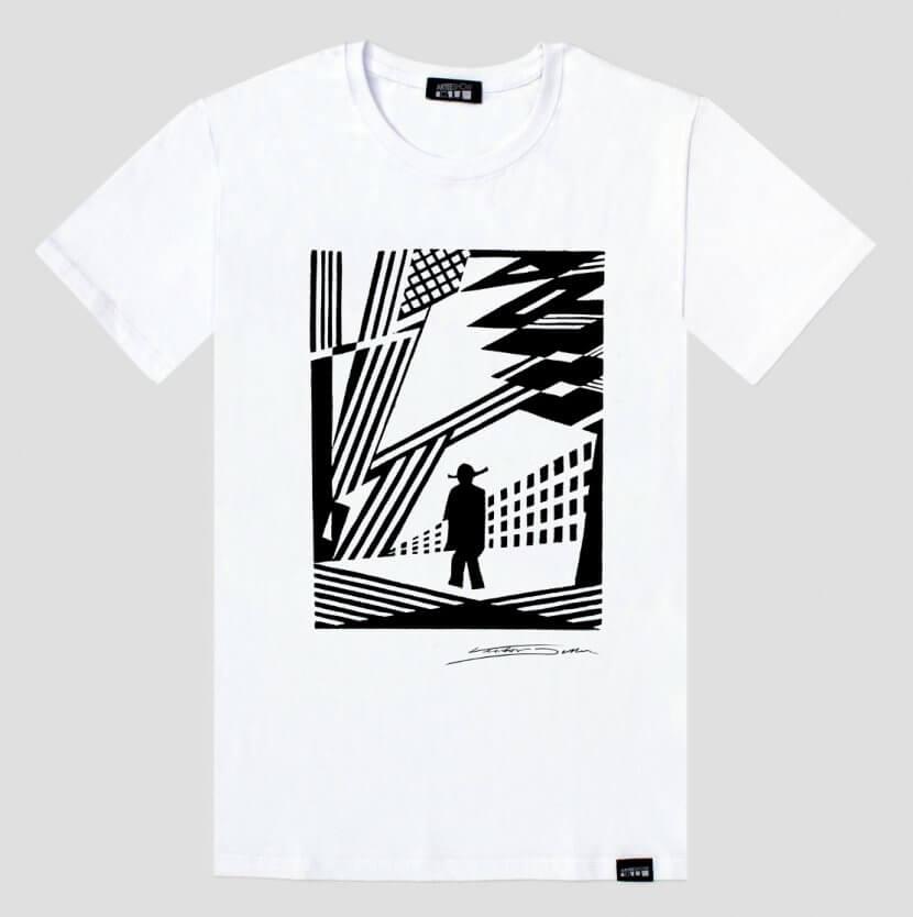 T-shirt blanc homme de Victor Delhez arteeshow