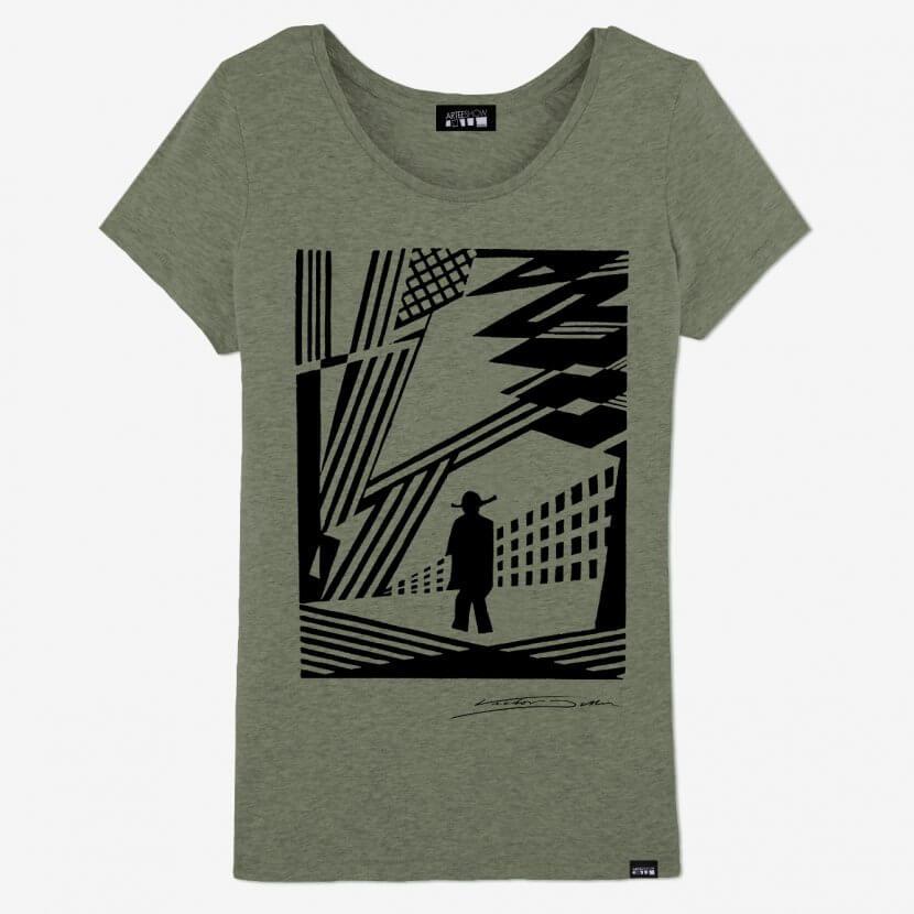 T-Shirt Femme Heather Khaki en coton biodegradable de Victor Delhez artiste belge imprimé en Belgique à Antwerp