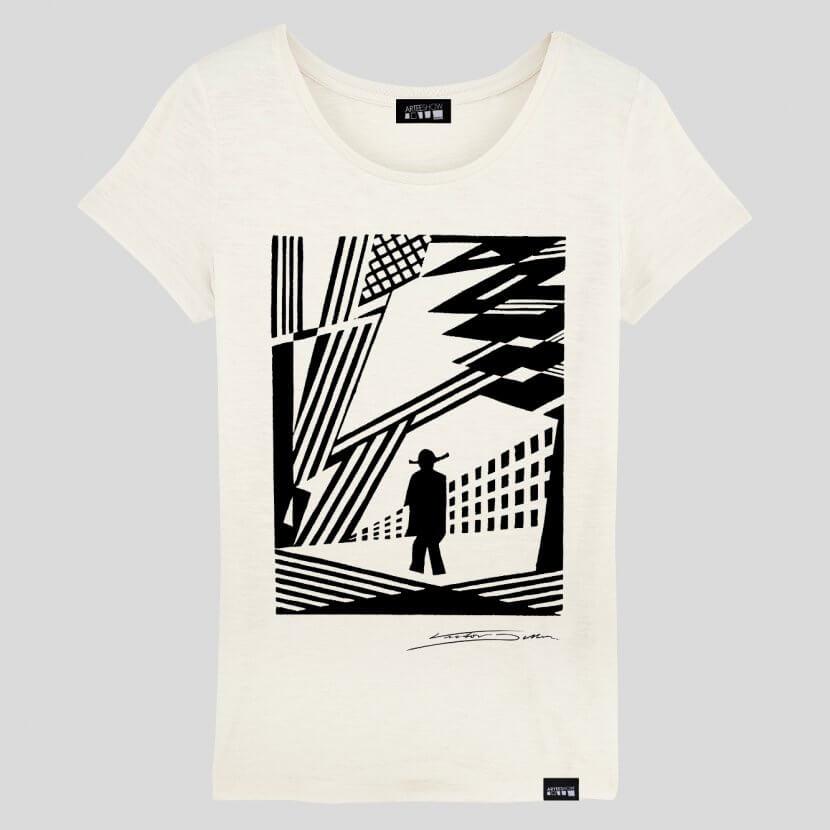T-shirt blanc femme de Victor Delhez artiste belge