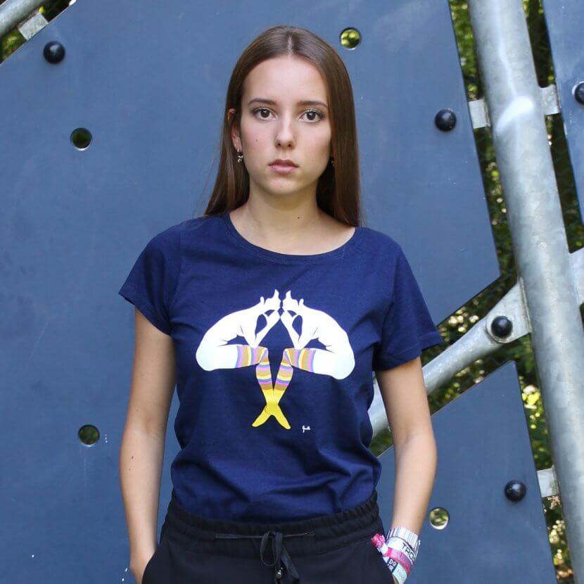 T-shirt femme en coton bio de Evelyne Axell artiste belge du pop art