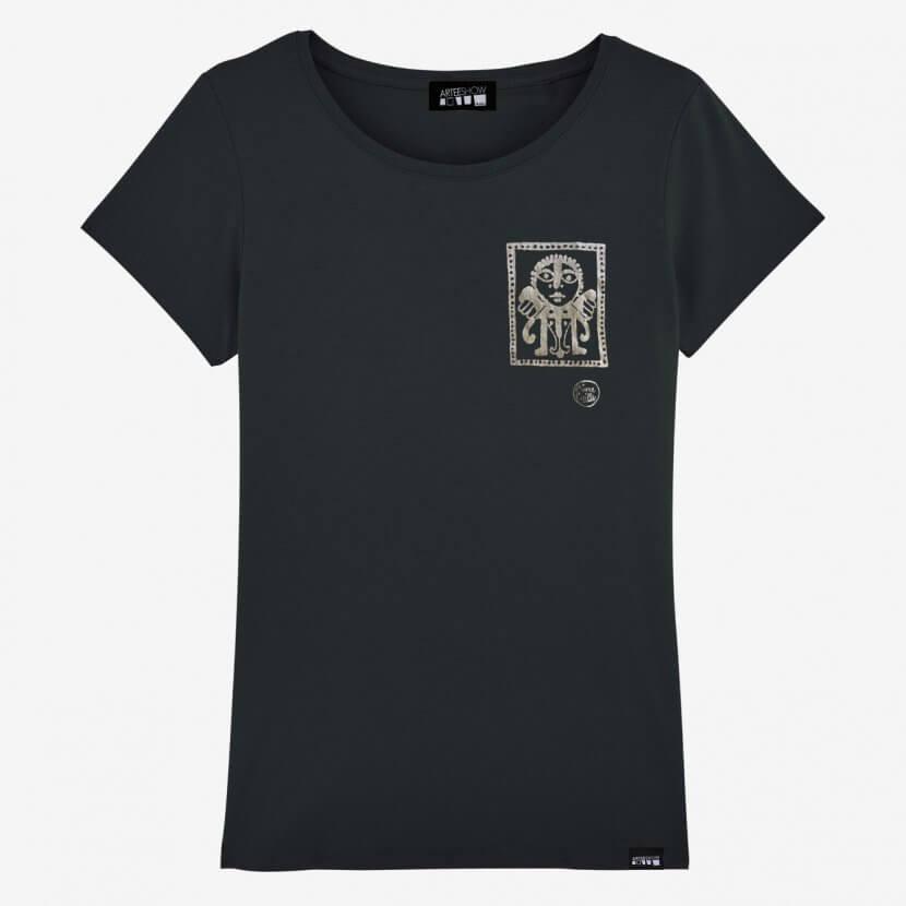 T-shirt femme noir Victor Delhez imprimé en Belgique en coton biologique