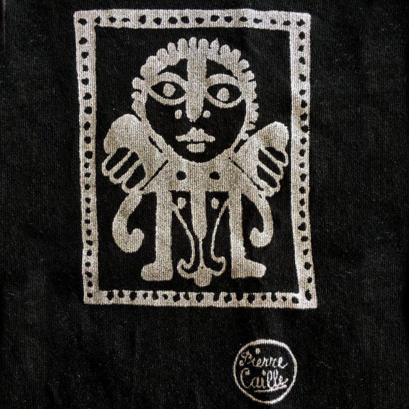 T-shirt femme noir détail Pierre Caille