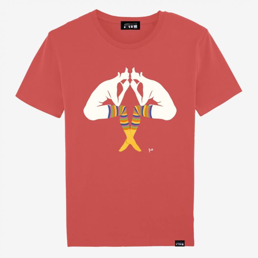Tee-shirt Homme Hot Coral de Evelyne Axell «L'Entretien» imprimé en Belgique sur coton biologique et Fear Wear