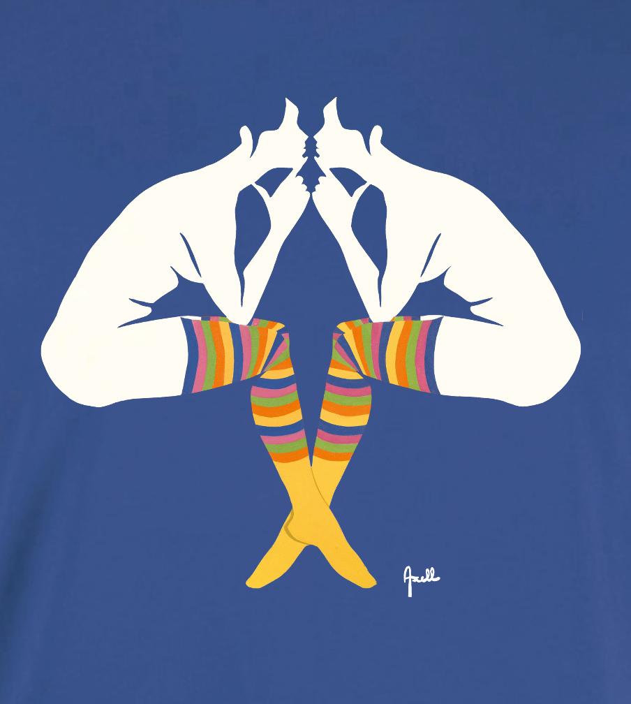 T-shirt bleu royal homme Evelyne AXELL artiste belge 1966 L'Entretien