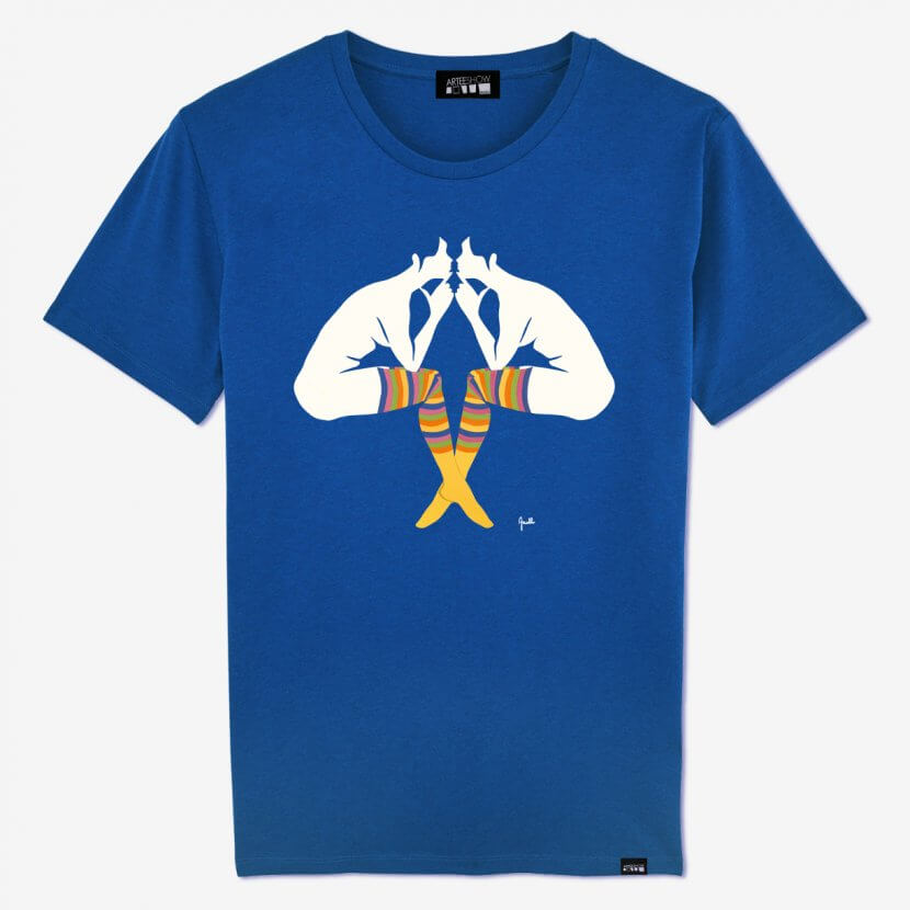 T-shirt Homme Mid Heather Royal Blue de Evelyne Axell artiste belge pop art imprimé en Belgique sur du coton biologique et fear wear