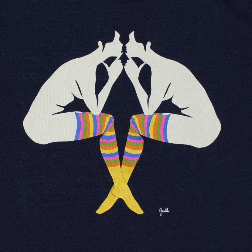 T-shirt bleu Evelyne Axell artiste belge du pop artL'entretien