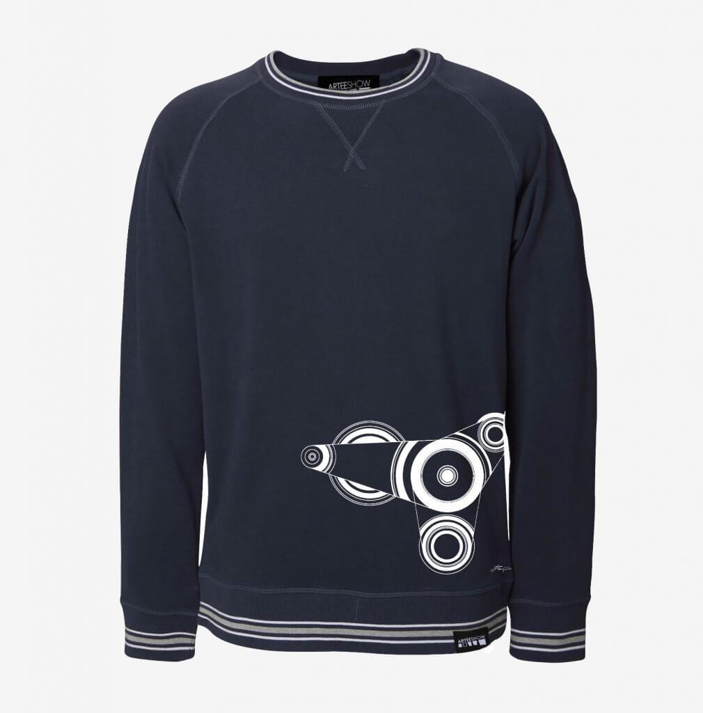 Sweatshirt unisexe bleu marine manches coton biologique