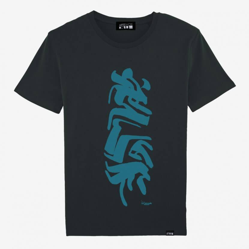 T-shirt men Black printed bleue organic cotton de Lismonde