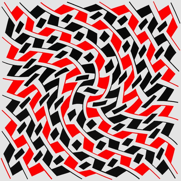 Jean-Pierre Maury« MDF 2002019 », 2002, acrylique sur panneau MDF, blanc, rouge et noir, 77 x 77 cm