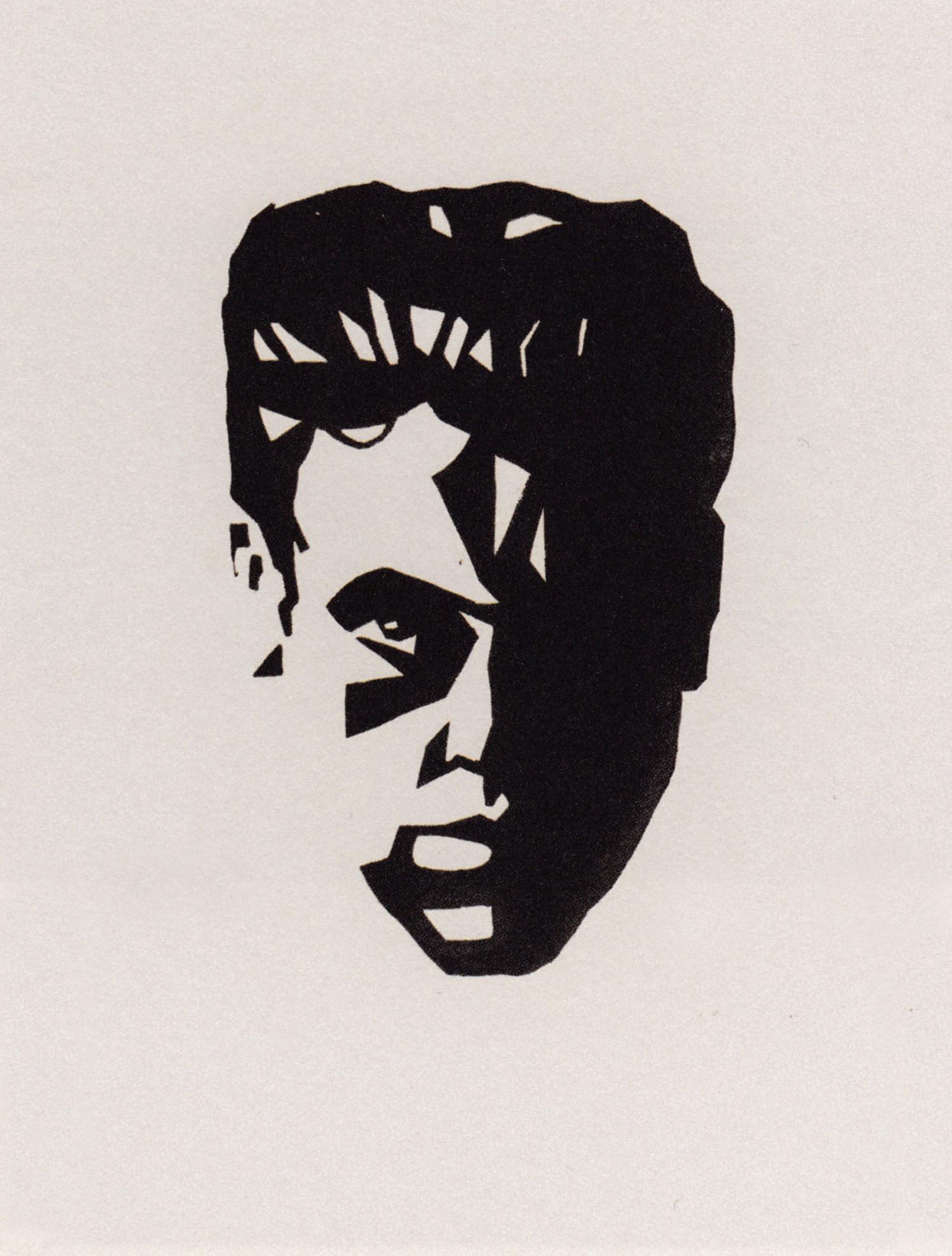 Victor Delhez Autoportrait linogravure artiste belge